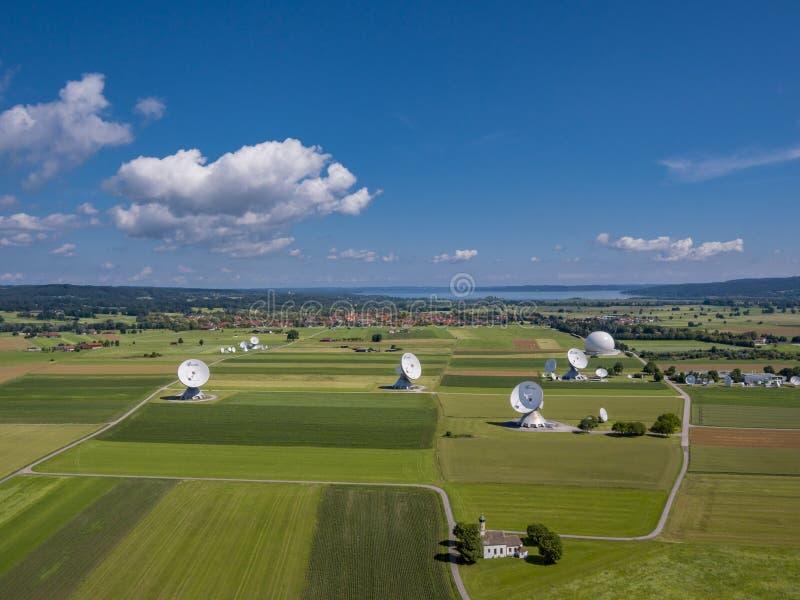 Satellite earth station Raisting, Upper Bavaria, Germany. Satellite earth station Raisting, satellite antennae, Lake Ammersee, Pfaffenwinkel, Upper Bavaria stock photos