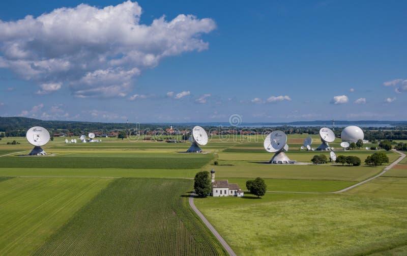 Satellite earth station Raisting, Upper Bavaria, Germany. Satellite earth station Raisting, satellite antennae, Lake Ammersee, Pfaffenwinkel, Upper Bavaria stock photography