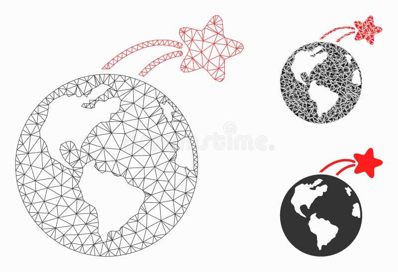 Satellite en hausse sur icône de mosaïque de modèle et de triangle de maille de vecteur de la terre la 2D illustration stock