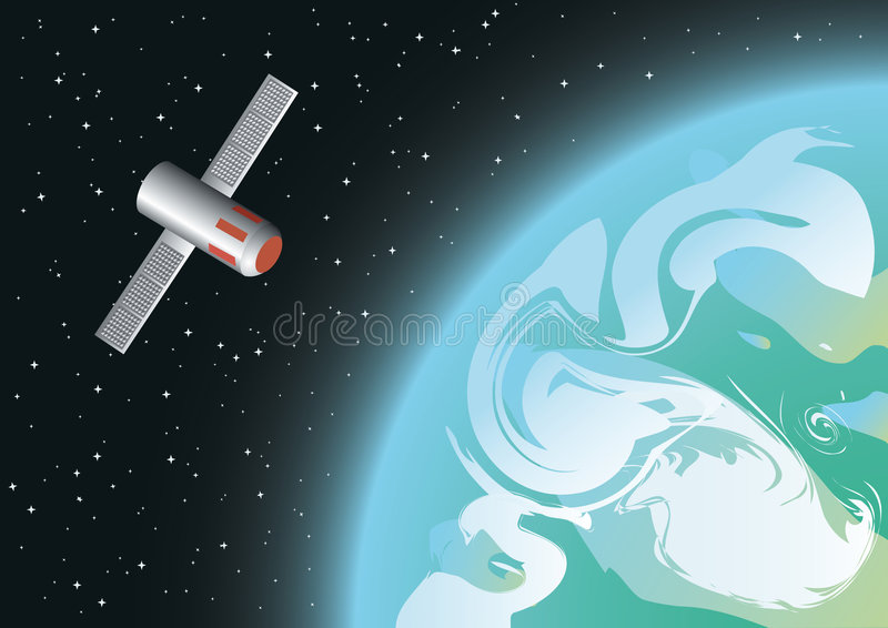 Satellite en orbite illustration libre de droits