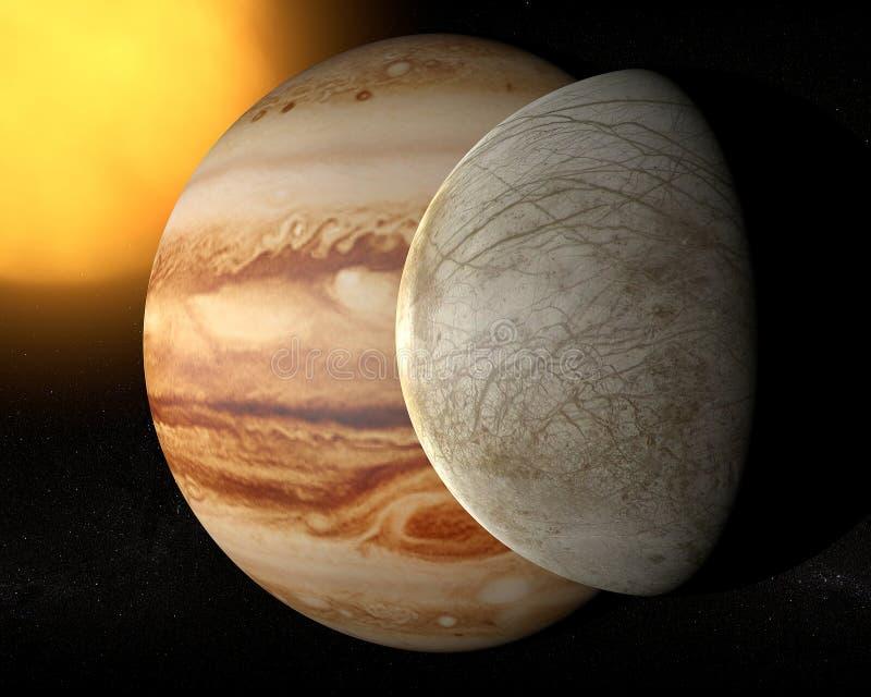 Satellite Europa, Jupiter's moon stock illustration