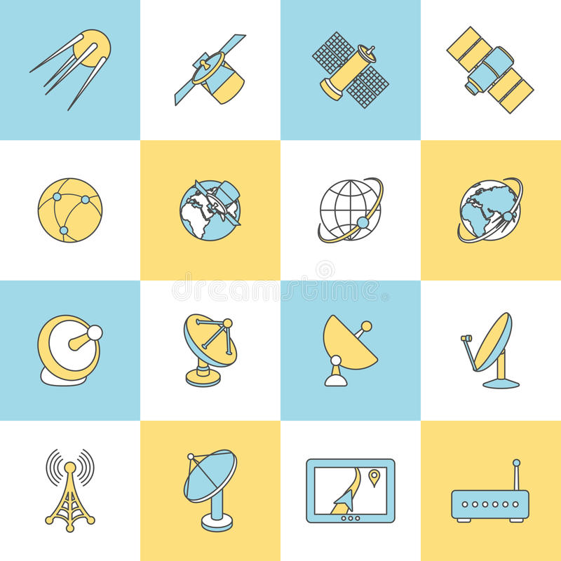 Satellite Flat Line Icons. Modern satellite TV telephone internet connection digital technology flat line design dishes pictograms collection isolated vector royalty free illustration