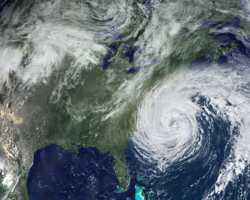 Satellite, Florida, Hurricane, Weather, Storm. Composite image from NASA and 3D software. A hurricane storm batters the east coast of America near Florida stock photography