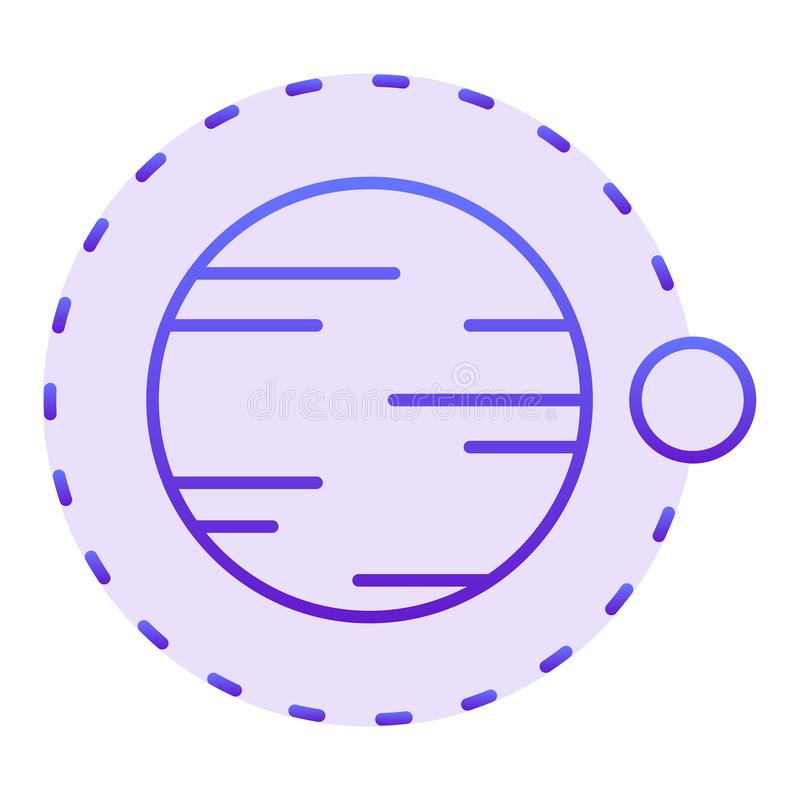 Satellite flying above planet flat icon. Cosmos violet icons in trendy flat style. Astronomy gradient style design stock illustration