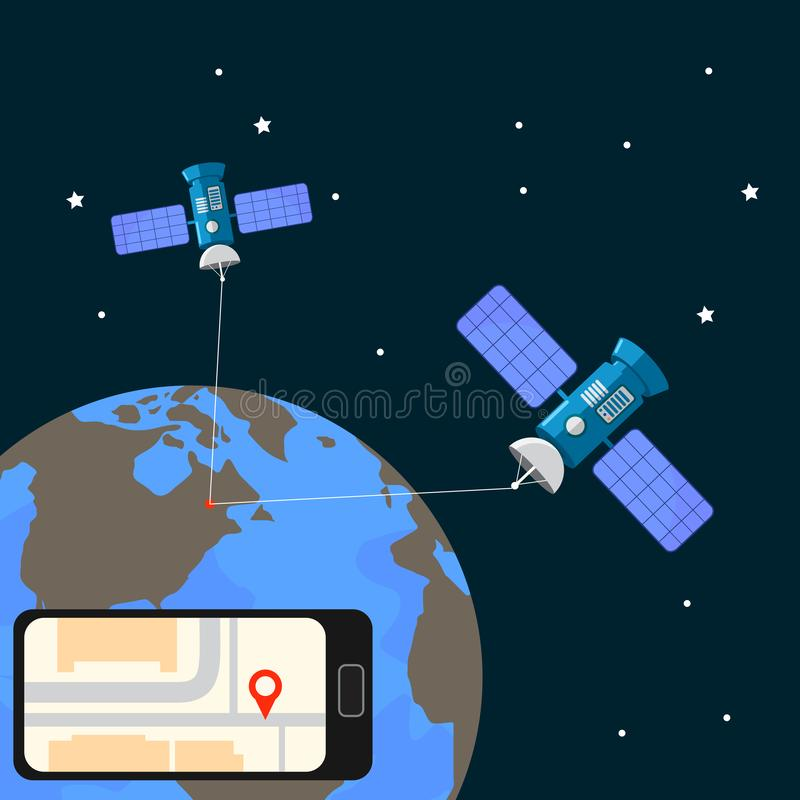 Satellite geolocation , positioning on the ground. Navigation geolocation. City map on mobile phone with red pin. Vector royalty free illustration