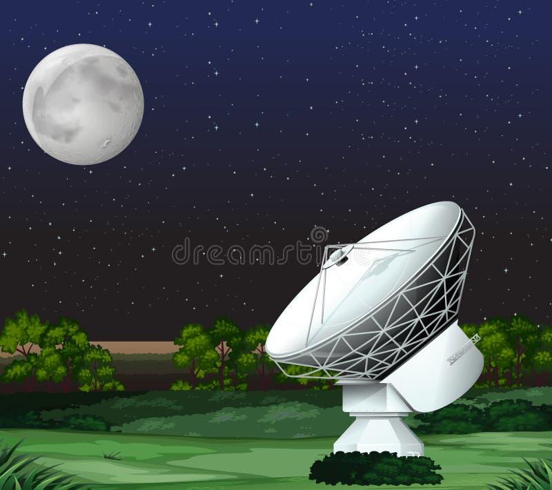 Satellite on the ground at night vector illustration