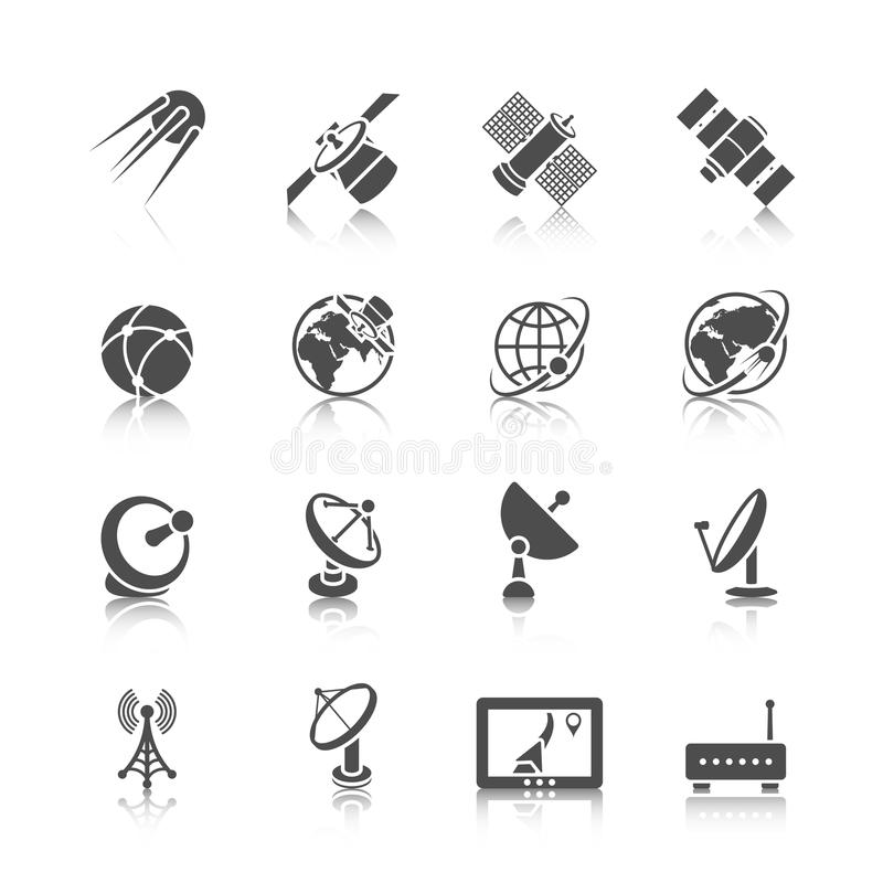 Download Satellite Icons Set stock vector. Illustration of communication - 43808701