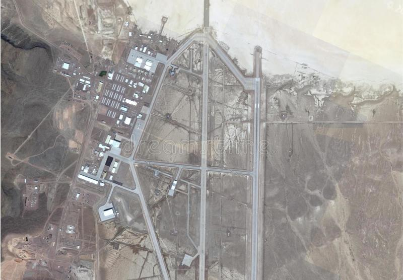 Satellite image of area 51. Satellite image of top secrete military base area 51, homey airport nevada royalty free stock image