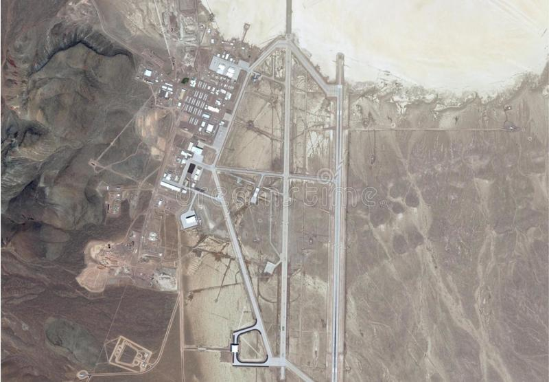 Satellite image of area 51. Satellite image of top secrete military base area 51, homey airport nevada royalty free stock photos