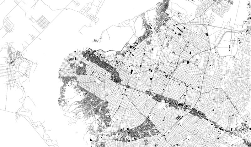Satellite map of Asunción, Paraguay, city streets. Street map, city center. South America vector illustration