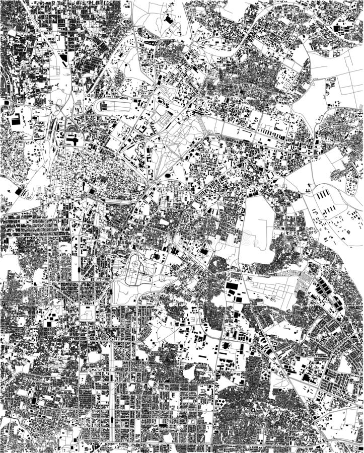 Satellite map of Bangalore, India, streets of the city. Street directory and map of the city center. Asia royalty free illustration