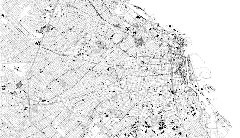 Satellite map of Buenos Aires, Argentina, city streets vector illustration