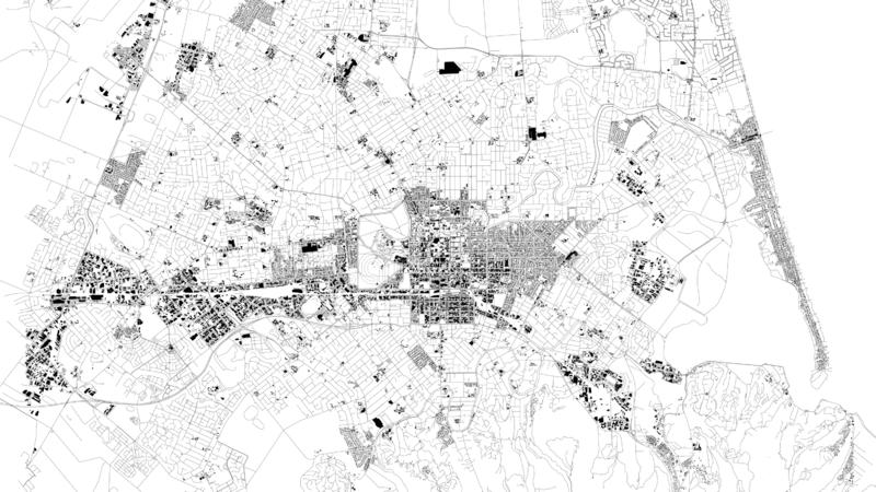 Satellite map of Christchurch is the largest city in the South Island of New Zealand. City streets and buildings. Satellite map of Christchurch is the largest royalty free illustration