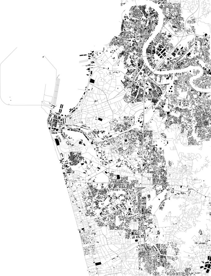 Satellite map of Colombo, Sri Lanka, streets of the city. Street directory and map of the city center. Asia vector illustration