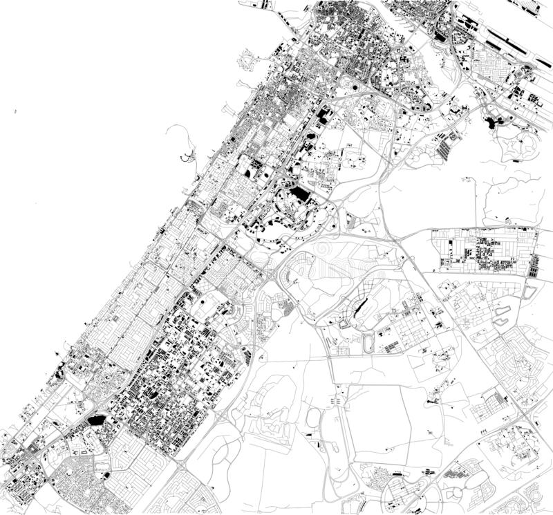 Satellite map of Dubai, United Arab Emirates, city streets. Street map and map of the city center vector illustration