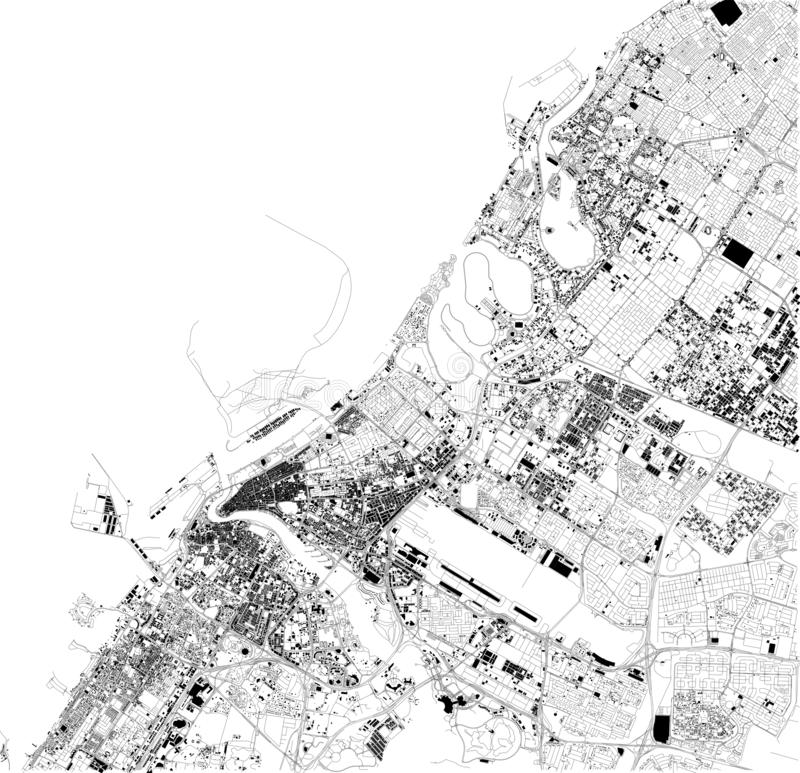 Satellite map of Dubai, United Arab Emirates, city streets. Street map and map of the city center stock illustration