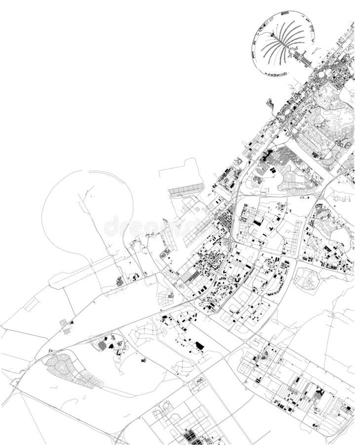Satellite map of Dubai, United Arab Emirates, city streets. Street map and map of the city center royalty free illustration