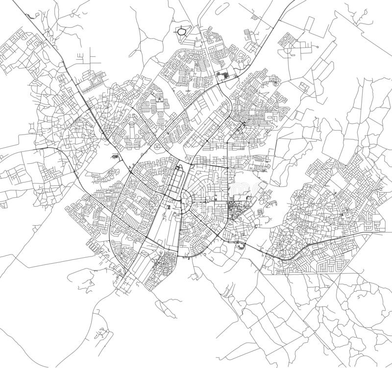 Satellite map of Gaborone, Botswana, city streets. Street map of the city center. Africa vector illustration