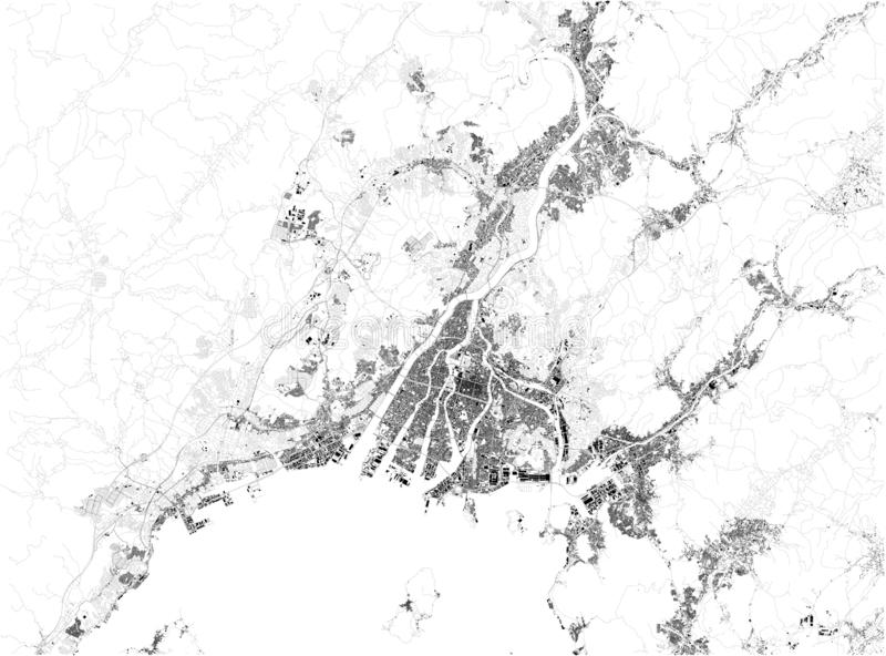 Satellite map of Hiroshima, it is the capital of Hiroshima Prefecture, Japan. Map of streets and buildings of the town center. Satellite map of Hiroshima, it is stock illustration