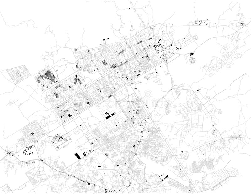 Satellite map of Islamabad, it is the capital city of Pakistan. Map of streets and buildings of the town center. Black and white map vector illustration