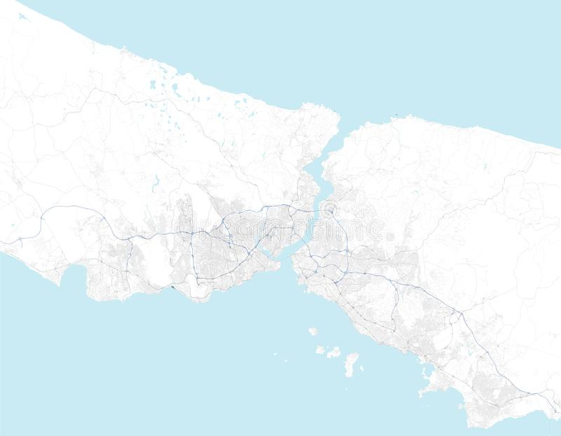 Satellite map of Istanbul and surrounding areas. Turkey. Map roads, ring roads and highways, rivers, railway lines. Vector file royalty free illustration