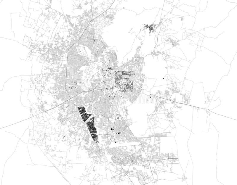 Satellite map of Jaipur, India. It is the capital and the largest city of the Indian state of Rajasthan. Map of streets and buildings of the town center vector illustration