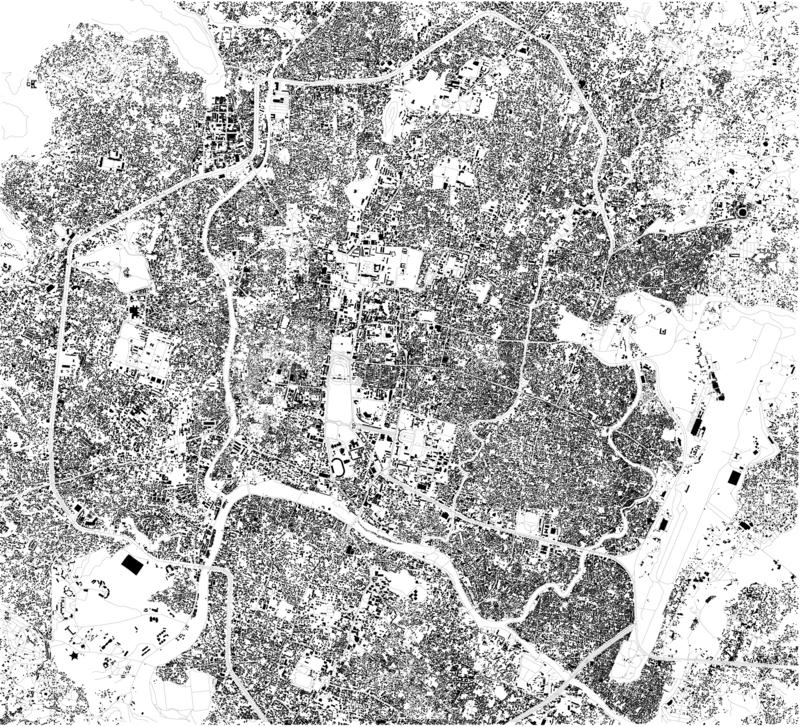 Satellite map of Kathmandu. It is the capital city and largest city of Nepal. Map of streets and buildings of the town center. It is also the largest royalty free illustration