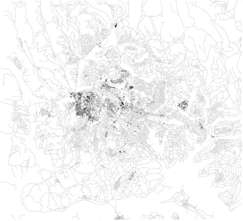 Satellite map of Kigali, it is the capital and largest city of Rwanda. Map of streets and buildings of the town center stock illustration