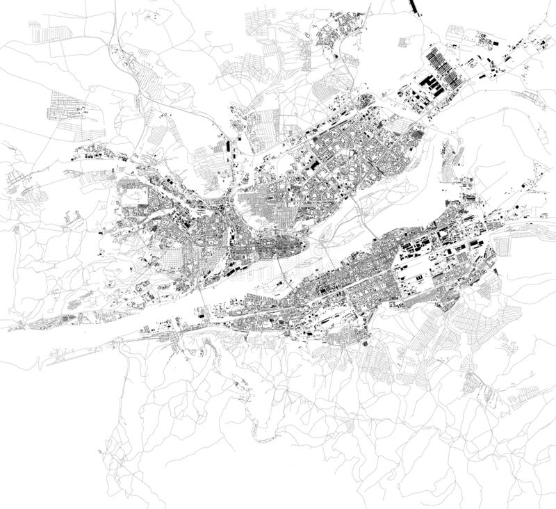 Satellite map of Krasnoyarsk, Siberia, Russia. Map of streets and buildings of the town center. Asia vector illustration