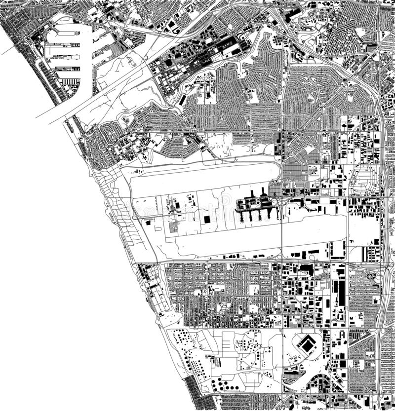 Satellite map of Los Angeles, airport, California, Usa, city streets. Street map and map of the city center stock illustration