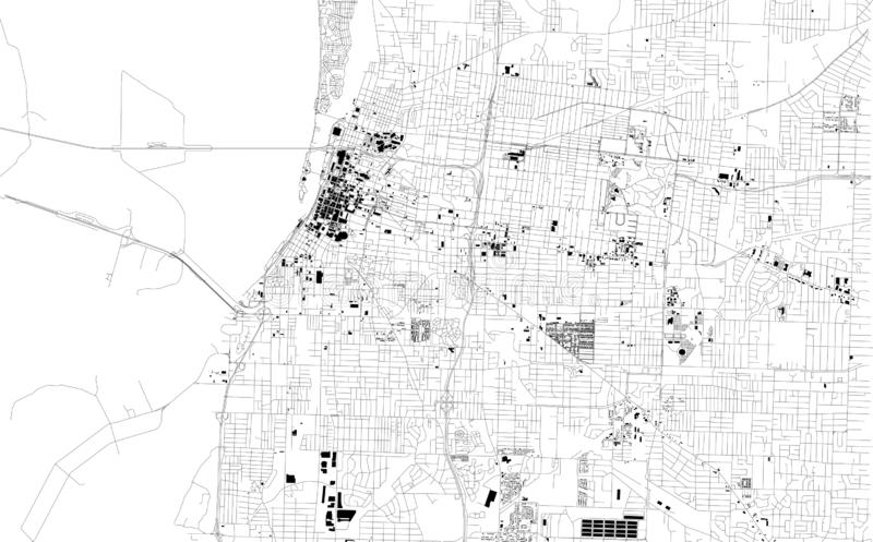 Satellite map of Memphis, Tennessee, Usa, city streets. Street map and map of the city center vector illustration