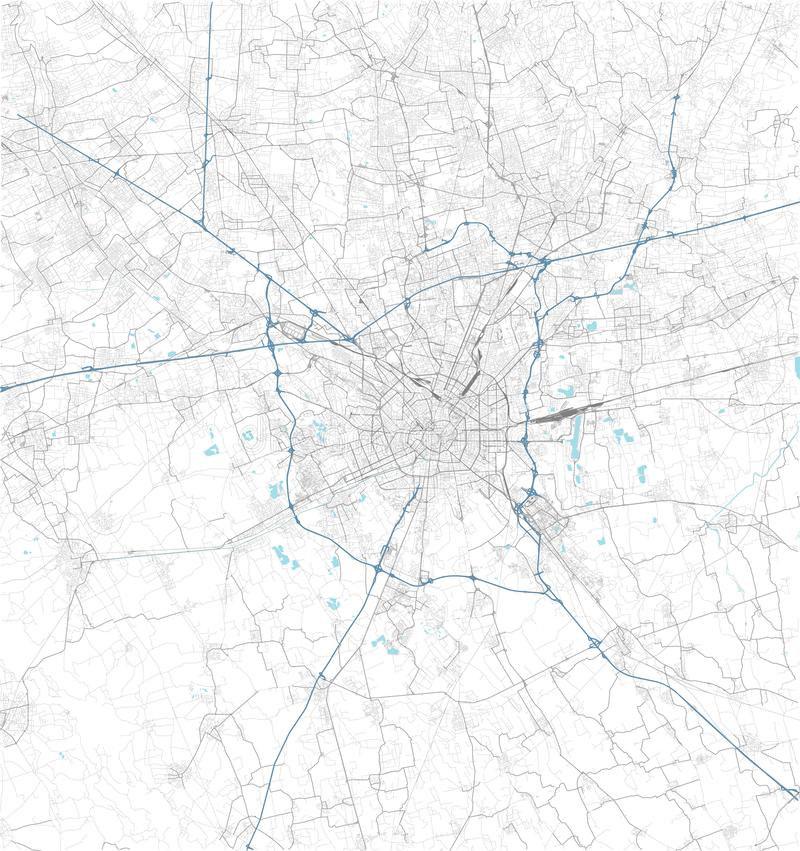 Satellite map of Milan and surrounding areas. Lombardy, Italy. Map roads, ring roads and highways, rivers, railway lines. Vector file vector illustration