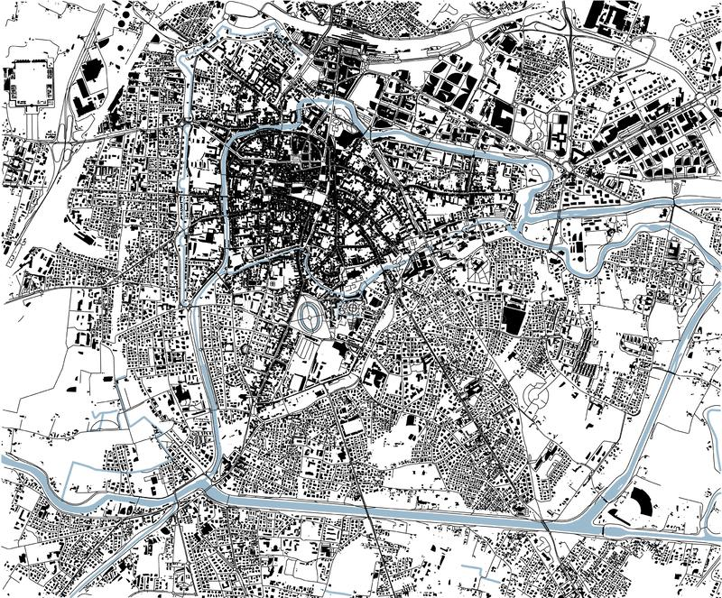 Satellite map of Padua, Padova, Italy, city streets. Street map, city center stock illustration