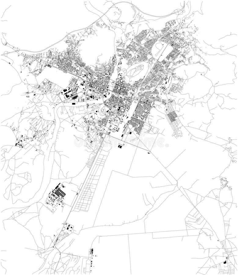 Satellite map of Podgorica, the capital and largest city of Montenegro. City streets. And buildings of the town stock illustration