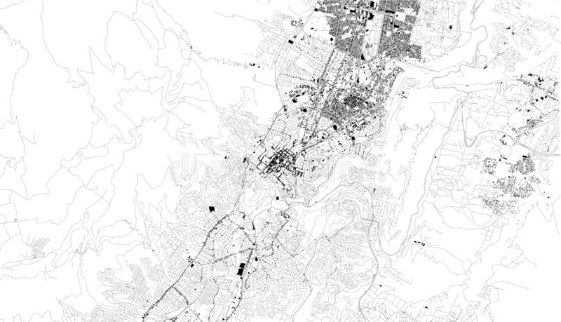 Satellite map of Quito, Ecuador, city streets. Street map, city center. South America vector illustration