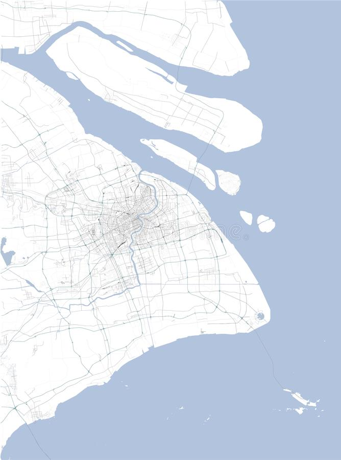 Satellite map of Shanghai and surrounding areas, People`s Republic of China. Map roads, ring roads and highways, rivers, railway l. Satellite map of Shanghai and stock illustration