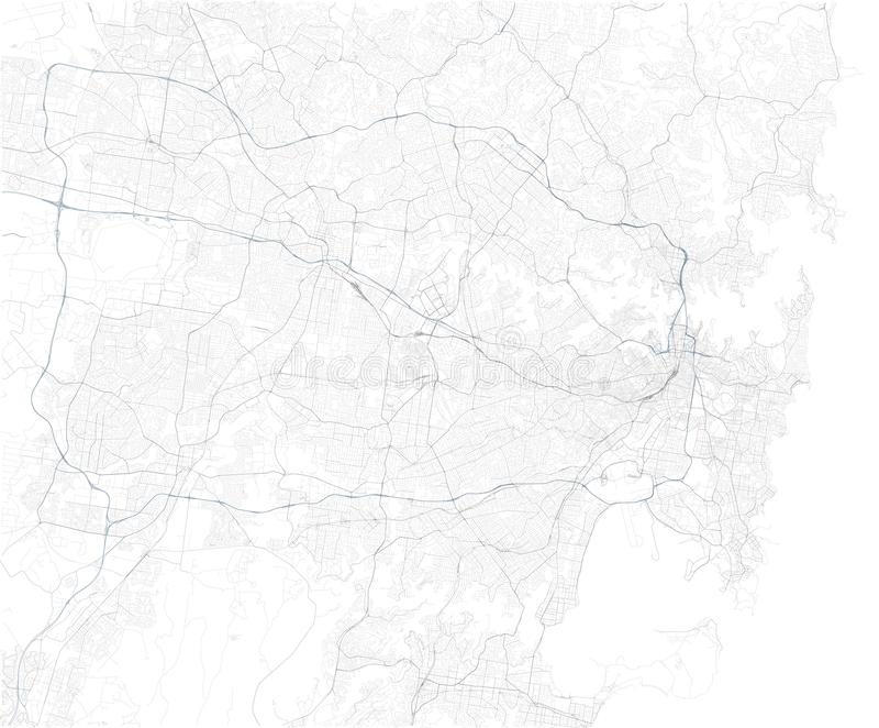 Satellite map of Sydney and surrounding areas,  Australia. Map roads, ring roads and highways, rivers, railway lines. Transportation map stock illustration