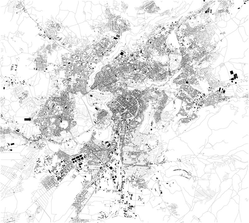 Satellite map of Yerevan. It is the capital and largest city of Armenia. Map of streets and buildings of the town center. Satellite map of Yerevan. It is the vector illustration