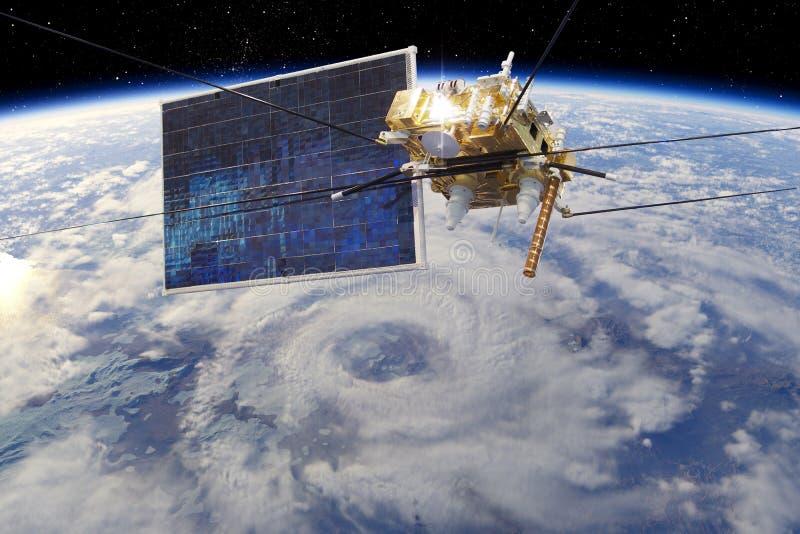 Satellite meteorologico moderno all'orbita terrestre illustrazione di stock