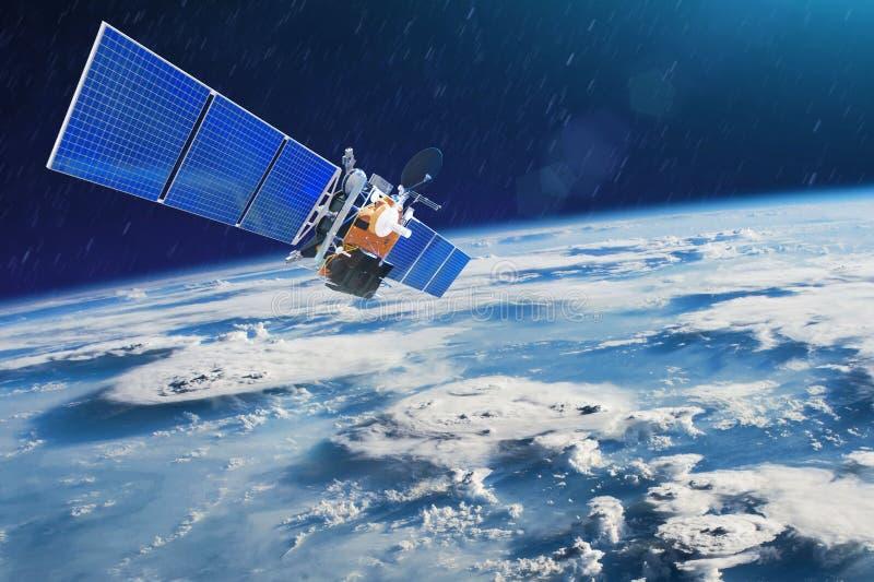 Satellite meteorologico per l'osservazione i temporali potenti delle tempeste e dei tornadi nello spazio che orbita la terra Elem fotografia stock libera da diritti