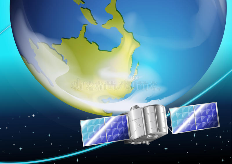 A satellite near the planet vector illustration