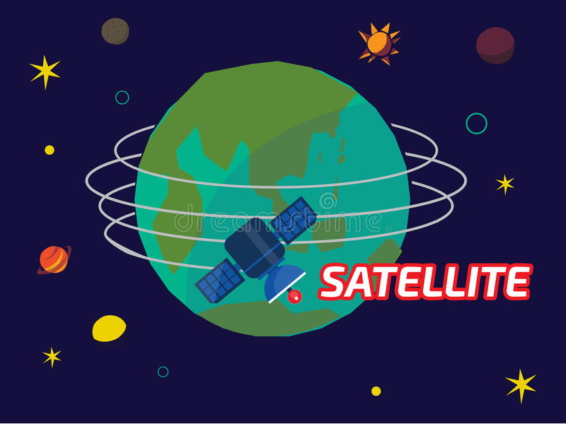 Satellite orbiting the earth - illustration vector illustration