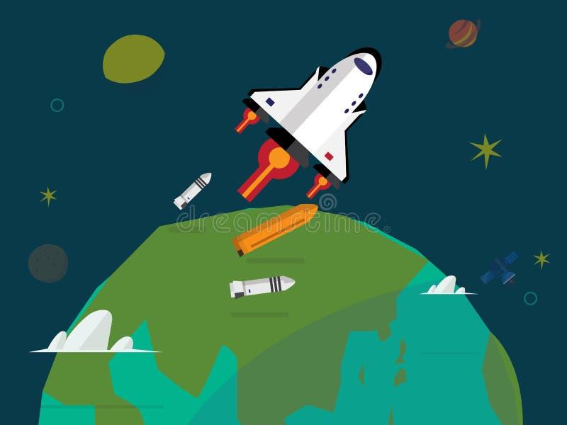 Satellite orbiting the earth - illustration royalty free illustration
