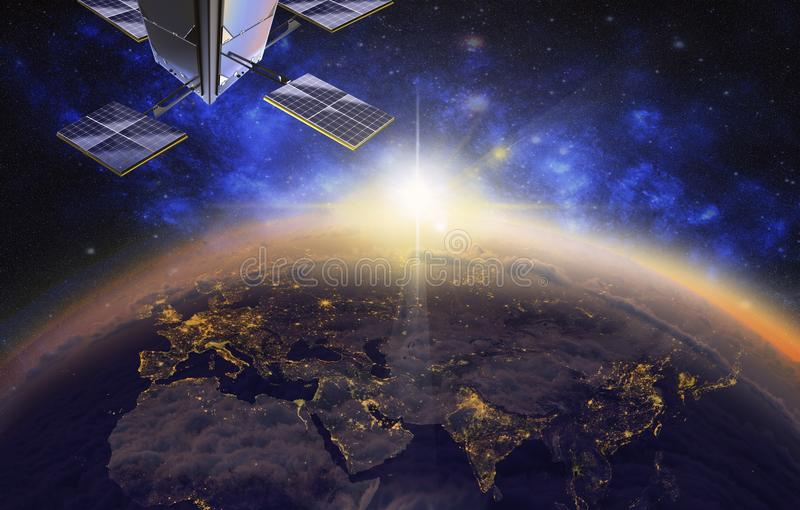 satellite over Europe and Asia, 3d visualization,sunrise stock illustration