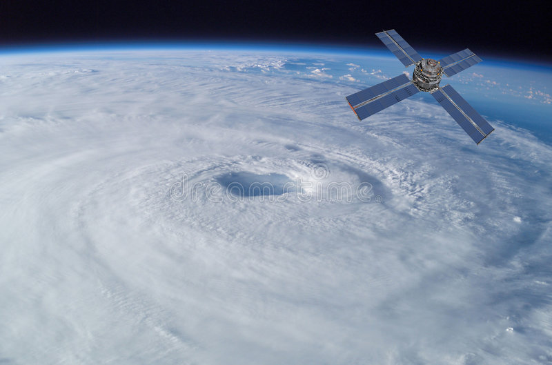 Satellite over Hurricane vector illustration