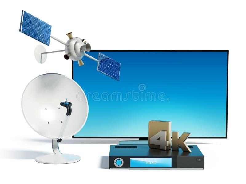 Satellite, piatto, di 4K ricevitore ultra HD e TV illustrazione 3D royalty illustrazione gratis