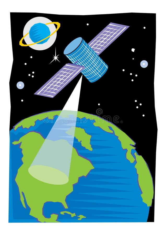 Satellite placé en orbite autour de la terre ou une lune ou une planète différente afin de collecter des informations ou pour la  illustration de vecteur
