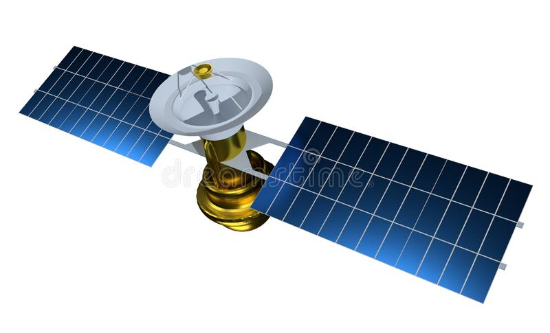 Satellite r?aliste 3d rendent l'illustration de satelit Satellite d'isolement sur le fond blanc illustration stock