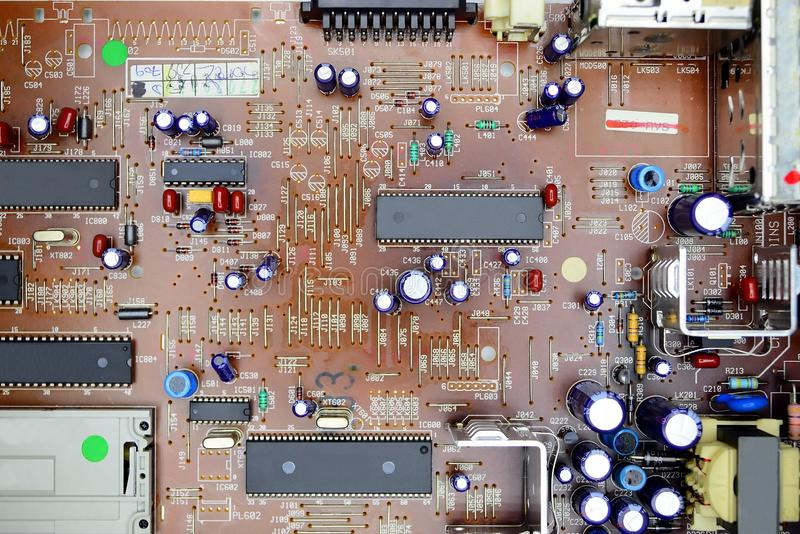 Satellite receiver PCB board with electronic parts. Satellite DVB receiver PCB board with electronic parts stock images