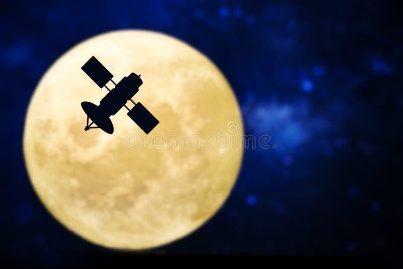 Satellite silhouette over a full moon stock illustration
